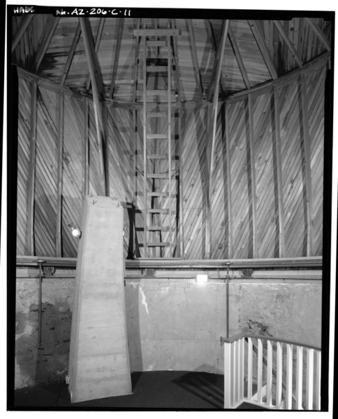 File:INTERIOR VIEW OF DOME AND TELESCOPE MOUNT, LOOKING NORTH - Lowell Observatory, Pluto Dome, 1400 West Mars Road, Flagstaff, Coconino County, AZ HABS ARIZ,3-FLAG,1C-11.tif