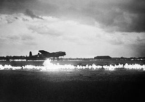 Fog Investigation and Dispersal Operation - FIDO in operation at RAF Graveley, May 1945