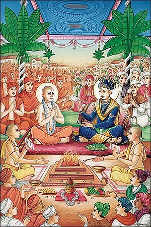 Gunatitanand Swami - At the Dabhan Yagna in 1810, Bhagwan Swaminarayan ordained Mulji Sharma as Gunatitanand Swami and declared him to be Akshardham, his divine abode.