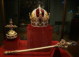 Imperial Crown of Austria - Imperial Crown, Orb, and Sceptre of Austria, displayed in the Imperial Treasury at the Hofburg Palace in Vienna