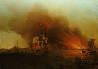 George Anson's voyage around the world - Anson's burning and plundering of Paita in 1742 - painting by Samuel Scott