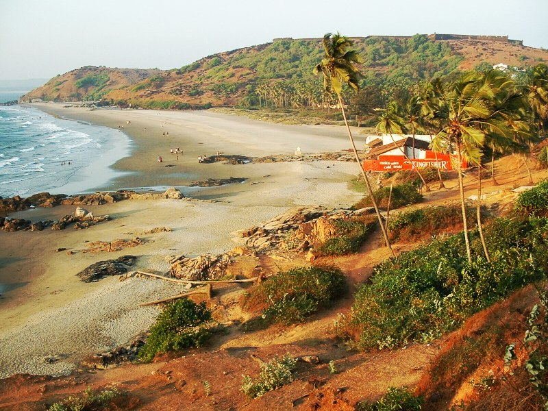 India Goa Big Vagator Beach with Fort Chapora