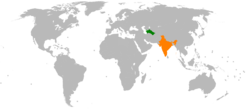 Map indicating locations of Turkmenistan and India