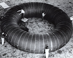 Inflatable space habitat - Toroid inflatable station concept during testing (NASA 1961)