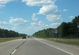 Interstate 39 - Interstate 39, along with US 51, in northern Wisconsin