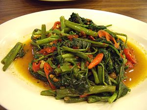 English: Asian styled stir fry ipomoea aquatic...