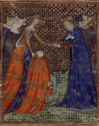 Charles IV of France - A near-contemporary miniature showing the future Edward III giving homage to Charles IV under the guidance of Edward's mother, and Charles' sister, Isabella, in 1325.