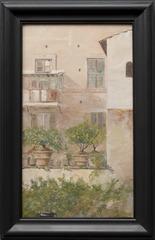 Italian Study. Patio with Lemon-Trees in Flowerpots