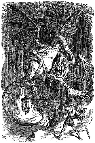 "1871 in poetry - The Jabberwock, as illustrated by John Tenniel for Lewis Carroll's Through the Looking Glass, including the poem ""Jabberwocky""."