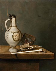 Still Life with Stoneware Jug and Pipe