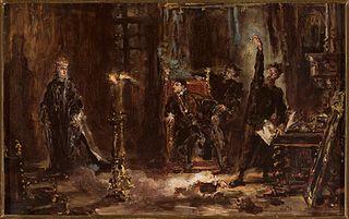 Twardowski wywołujący ducha Barbary przed Zygmuntem Augustem, szkic