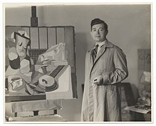 Jan Matulka with his painting (2823989063).jpg