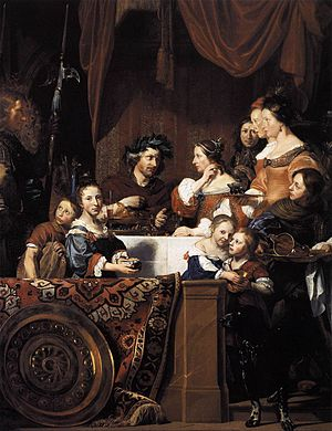 "Salomon de Bray - Cleopatra puts a pearl earring in the wine, posthumous family portrait poignantly illustrating a ""priceless meal"" with Salomon as Anthony and his wife Anna as Cleopatra, painted by son Jan (on the far left looking over at his sister and wife), and son Dirck (gazing out towards the viewer on the right) as the only surviving family members. 1669, Currier Museum of Art."