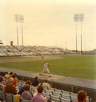 Jarry Park Stadium - Houston Astros pitcher Ken Forsch warms up at Jarry Park Stadium, 1971.