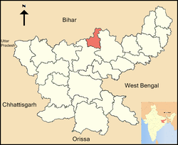 Location of Koderma district in Jharkhand