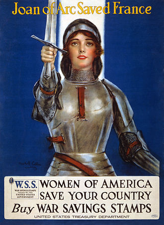 """War savings stamps of the United States - """"Joan of Arc saved France--Women of America, save your country--Buy War Savings Stamps"""", poster for World War I war savings stamps, 1918."""