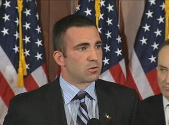Iraq War troop surge of 2007 - Jon Soltz speaking at the Democratic press conference.