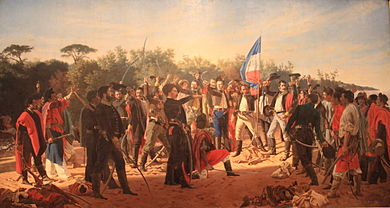 The oath of the Thirty-Three Orientals in 1825 prior to the beginning of the Cisplatine War, in which Uruguay gained independence from Brazil. Juan Manuel Blanes - El Juramento de los Treinta y Tres Orientales.jpg