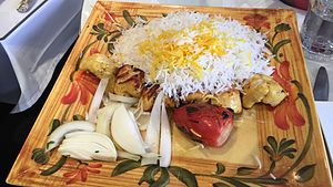 Jujeh kabab - Jujeh Kabab dish on  Nowruz 2016 in Washington, D.C.
