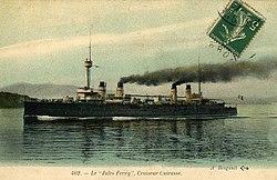 Jules Ferry, croiseur cuirassé français photographié par Bougault, colored.jpg
