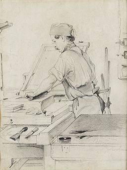 Julius Adam Selbstbildnis als Lithograf in der Werkstatt
