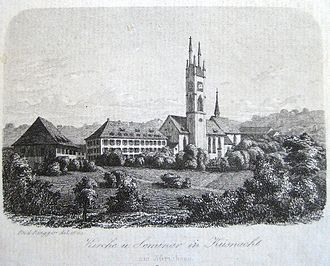 Küsnacht - Church and seminary in Küsnacht, by Rudolf Ringger (about 1865)