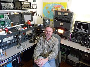 "Vintage amateur radio - ""Radio shack"" of amateur radio operator K9OA featuring vintage gear."