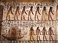 KV17, the tomb of Pharaoh Seti I of the Nineteenth Dynasty, Pillared chamber F, southeast wall decorated with the scenes from the Book of Gates, Valley of the Kings, Egypt (49845805958).jpg