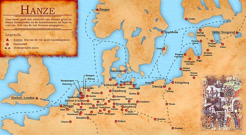 Bestand:Kaart Hanzesteden en handelsroutes.jpg