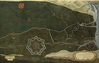 Kaart van Damme en de Spaanse grensforten bij Sluis