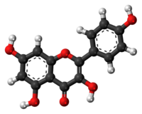 Ball-and-stick model of the kaempferol molecule