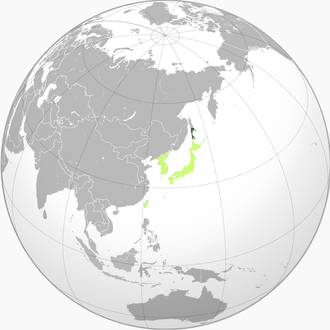 Karafuto Prefecture - Green: Karafuto Prefecture within Japan in 1942 Light green: Other constituents of Imperial Japan