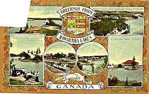 Kawartha Lakes (Ontario) - Kawartha Lakes Post Card from 1910 (with the stamp corner cut out).