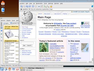 K Desktop Environment 3 - K Desktop Environment 3.4 with Konqueror and Amarok.