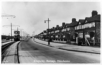 Burnage - A tram running along Kingsway, c.1930