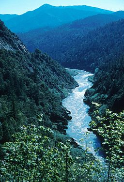 A river with whitewater in a canyon