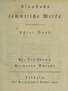 Titelblatt von Der Tod Adams. Hermanns Schlacht in der Ausgabe der Sämmtlichen Werke (Leipzig 1823) (Quelle: Wikimedia)