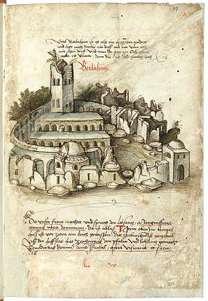 Church of the Nativity - The basilica and grounds as they were depicted to appear in a work published in 1487