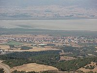 Koronia Lake 2008 and Agios Vasilios - seen from Chortiatis, Greece - 01.jpg