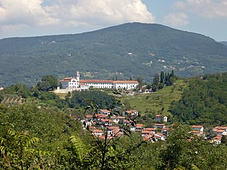 Kostanjevica Monastery - View of the Kostanjevica Monastery from the Castle of Gorizia. In the foreground, the suburb of Pristava, Nova Gorica