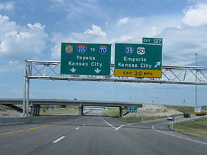 Kansas Turnpike - Exit 127, the Emporia interchange, marking the beginning of the I-335 designation and the departure of I-35 from the Turnpike