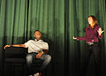 "Kyle Terry and Amber Kelly perform ""Sex Signals"" Oct. 16, 2008, at the theater at Cannon Air Force Base, N.M. The play educates U.S. Airmen about preventing sexual assaults by mixing improvisational comedy 081016-F-ML202-013.jpg"