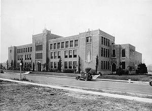 Daniel Murphy High School - Los Angeles College, c. 1926. St. John Vianney Chapel is far right.