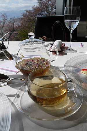 Herbal tea - Herbal tea in a glass teapot and cup