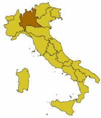 Χάρτης της Ιταλίας με την περιφέρεια επισημασμένη