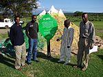 L to R - Evans(MoTW), Leakey Odera(Facin Mount Kenya Venture Initiator),Frederick Omondi(Ministry of Tourism and Wildlife) and Ronnie Okwara (Facin Mount Kenya conceiver and initiator) make Laikipia.jpg