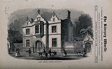 A wood engraving of the boys' school in Islington, which was a large two-storey building.