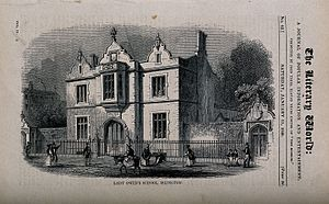 Dame Alice Owen's School - Lady Owen's School, Islington. Wood engraving, 1840.