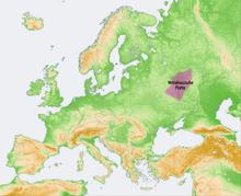 Stredoruská vysočina na mape európy