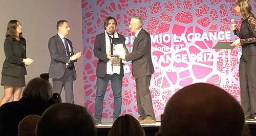 Cesar A. Hidalgo receiving the Lagrange Prize in Turin, Italy, 2018.